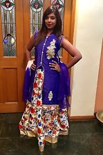 "34"" S Kids Lehenga Indian Bollywood Dress Purple Blue Silk Lahenga Adult Size 8"
