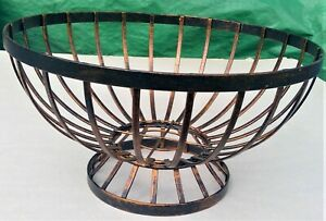 """metal basket round footed antiqued copper tone 6.25"""" H 11"""" D modern industrial"""