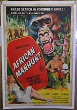 African Manhunt  original 1954 poster linen-backed pulpy jungle art  Great Color
