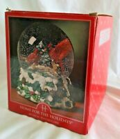 VTG Home For The Holidays Musical Christmas Waterglobe  Red Cardinal Birds 7.5""