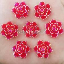 New 10pcs 20mm AB Resin 3D flower Flatback stone Wedding  buttons diy crafts
