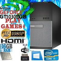 Ultra Fast Gaming PC Computer DELL Quad Core i5 NVIDIA GeForce GT 1030 2GB HDMI