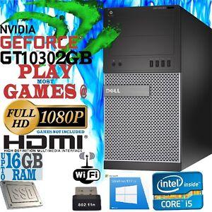 Ultra Fast Gaming PC Computer DELL Quad Core i5 NVIDIA GeForce GT 1030 2GB HDMI