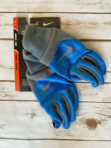 NIKE THERMA-FIT ELITE 2.0 GLOVES BLUE GREY MENS LARGE NEW