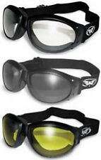 3 Eliminator Padded Motorcycle Goggles Keep Out Dust Wind Googles Burning man