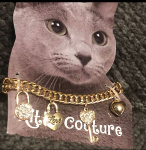 New Cuban Link Chain Cat Collar Charms