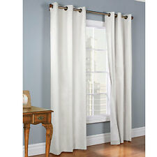 BLACKOUT WHITE 2 PANEL SOLID GROMMET FOAM LINED LIGHT PRIVACY WINDOW CURTAIN SI