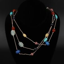 "Sterling Silver - ALUMA Lapis, Amethyst & Rhodonite 21"" Layered Necklace - 38g"