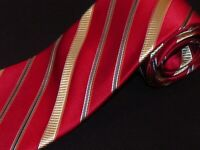 New Michael Kors Tie Red Gold Stripe Luxury Designer Woven Mens Necktie Jacquard