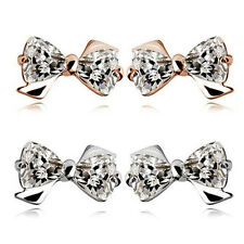 Elegant Trilliant-cut Crystal Bow Tie Stud Earrings Gold or Silver