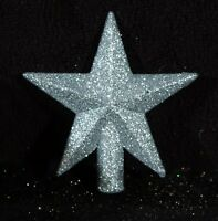 Miniature Silver Glitter Christmas Star Feather Tree Topper