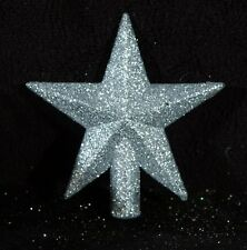 Miniature Silver Glittered Christmas Star Tree Topper