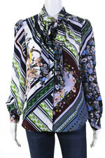 Tory Burch Womens Patchwork Bow Blouse Size 4 12614640