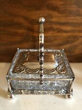 More details for beautiful antique w&f terry manchester glass & silver plated sardine dish