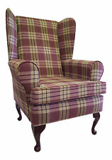 Wing Back Queen Anne Chair Heather Tartan Fabric