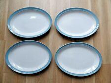 More details for four vintage denby colonial blue oval steak plates platters