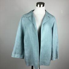 Ellen Tracy 10 Blazer Jacket Pale Light Blue Unlined Linen 3/4 Sleeve