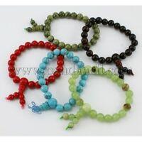 Buddha Meditation Natural Jade Gemstone 6-8-12mm Beads Stretch Bracelet (R041)