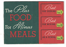 "Vintage Kellogg's All-Bran Recipe Booklet ""The Plus Foods for Minus Meals"""