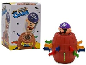 TRAVEL PIRATE BARREL GAME JUMPING PIRATE BOARD ACTION FAMILY POP UP TOY FUN 3+