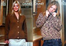 "King Cole chunky knitting pattern 2919 sweater + jacket 32-44""/81-112cm"
