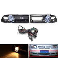 2Pcs/Set Fog Light Fit FOR VW Bora 99-04 Blue Lens Amber Light & Grille Complete