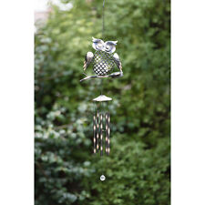 Solar Powered Colour Changing LED Light Metal Owl Wind Chime Two Colours