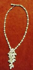 VINTAGE WEISS RHINESTONE DANGLE CLUSTER NECKLACE - SUPERB !!!!