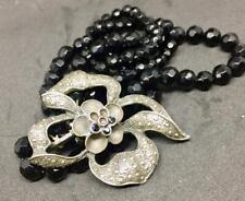 Vintage Black Quartz Crystal with Silver Tone Flower Multi strand Flex Bracelet