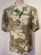 TOMMY BAHAMA 100% Silk Green Classic Palm Leaf Men's shirt Size X Large EUC
