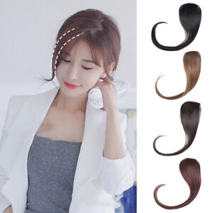 """12"""" 100% Human Hair Clip on Side Bangs Clip in Fringe Front Hairpiece Extensions"""