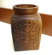 "Hand Carved Wood Vase - India - 6.5"" tall - Flowers - Solid Wood piece - Boho"