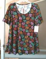 NEW WOMEN'S LULAROE PERFECT T BLACK WITH FLORAL PRINT SWING TOP SIZE M BNWT