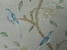Zoffany Curtain Fabric 'ELEONORA' 2.4 METRES (240cm) Linen/Green - 100% Silk
