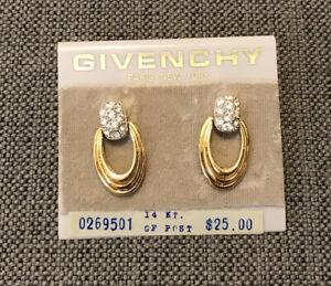 "Vintage Givenchy Goldtone Rhinestones Door Knocker Pierced Earrings 1"" D GF Post"