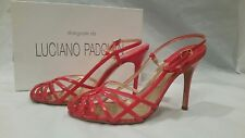 Luciano Padovan Red Leather Sandal Heels Size 38.5  US Size 8.5