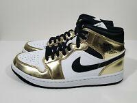 Nike Air Jordan 1 Mid SE Mens Basketball Shoes Metallic Gold White Size 10.5