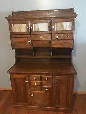 Antique Hoosier Cabinet, original finish, glass and fixtures.