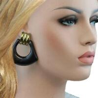 """Vintage 1980S Black Glitter Chunky Big Door Knocker Pierced Earrings 2 1/4"""""""