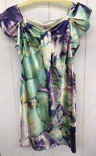ROULETTE Dress Womens 6 Purple Green Floral Print Satin Lined Shift Cocktail NEW