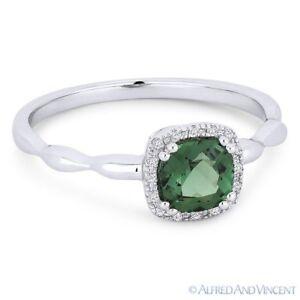 0.78 ct Cushion Cut Green Spinel Gem & Diamond 14k White Gold Halo Promise Ring