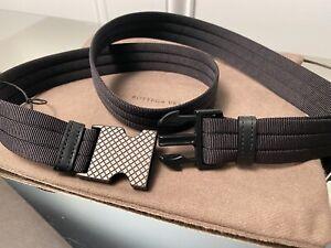 Bottega Veneta Men's Black Nylon Belt 544844 with intrecciato pattern on buckle