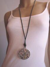 Modekette Damen Hals Kette Leder Lagenlook lang XL Silber Bodhi Baum Buddha