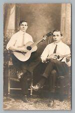 Stringed-Instrument Men—Studio Photo RPPC Guitar & Mandolin—Antique Music 1910s