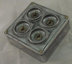 NEW Cast Metal Vintage Industrial 4 Gang (Square) Light Switch - BS EN Approved