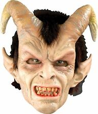 Halloween ELEGANT DEVIL WITH HORNS & ATTACHED HAIR Adult Latex Deluxe Mask NEW