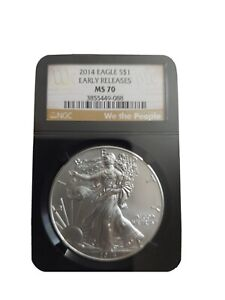 2014 (W) Eagle S$1 Silver Coin. MS 70. STRUCK AT WEST POINT EARLY RELEASE (NEW)