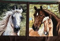 Running free horses pillow quilt panels Exclusively Quilters fabric