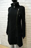 LIU JO Donna Cappotto in Lana Taglia 42 Giacca Lunga Parka Nero Jacket Women