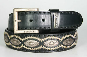 7606 Sendra Ledergürtel Negro mit Conchos Wechselgürtel